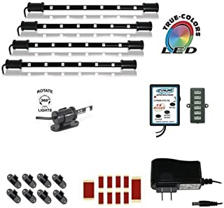 Cyron RGB True LED Multicolor Home TV Accent Lighting Kit Video Production Light, Under Cabinet Counter Lighting, Multi-Functional Controller, 360 Degrees Rotatable, ETL Listed, 4x 9