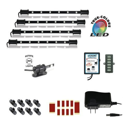 """Cyron RGB True LED Multicolor Home TV Accent Lighting Kit Video Production Light, Under Cabinet Counter Lighting, Multi-Functional Controller, 360 Degrees Rotatable, ETL Listed, 4x 9"""" LED Bars"""
