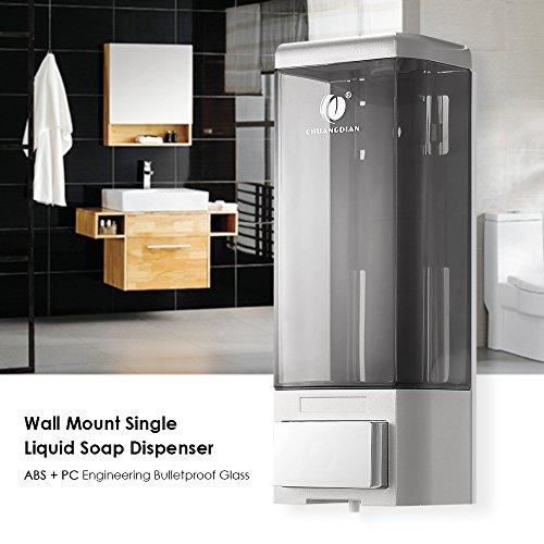 Blusea Manual Single Bottle Wall Mount Soap Dispenser 500ml Liquid Hand Cleanser Washroom Lotion Dispenser for Hospital Home Hotel Bathroom Office School Hotel