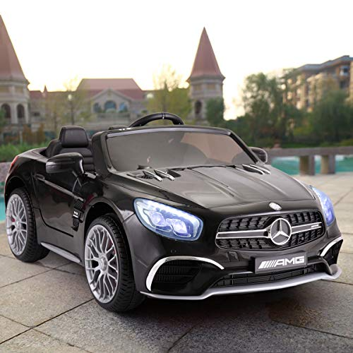 JAXPETY Mercedes Benz 12V Electric Kids Ride On Car Licensed MP3 RC Remote Control for Boys Girls (Black)