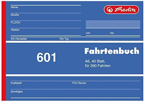 Herlitz 840645 Fahrtenbuch 601, A6 quer, 40 Blatt, für 390 Fahrten (2er Pack)