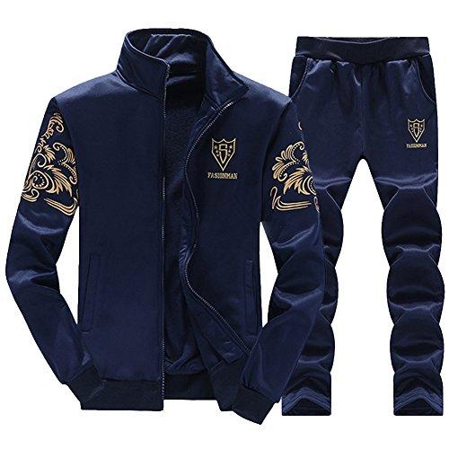 Homme Impression Survêtement Vertical Col Zipper Veste Sweat-Shirt Jogging Pantalons Sets 2 Pièces Bleu M