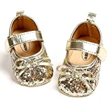 SOFMUO Baby Girls Mary Jane Flats Soft Sole Infant Moccasins Floral Sparkly Toddler Princess Wedding Party Holiday Dress Shoes(Gold,0-6 Months)