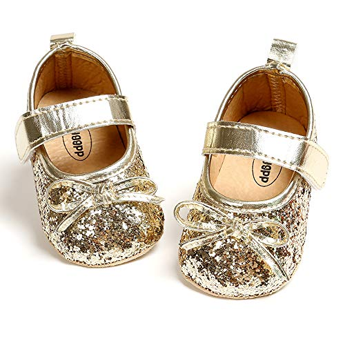 Enteer Baby Girls' Bow-Knot Elastic Mary Jane Shoes Gold US 3