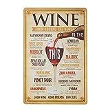 Vosarea Affiche de Plaque de métal Vintage pour café Bar pub bière Plaque Signe Plaque Murale Art déco (vin du Monde Entier)