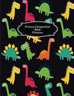 Primary Composition Book Dinosaur: Handwriting Sketch Compos