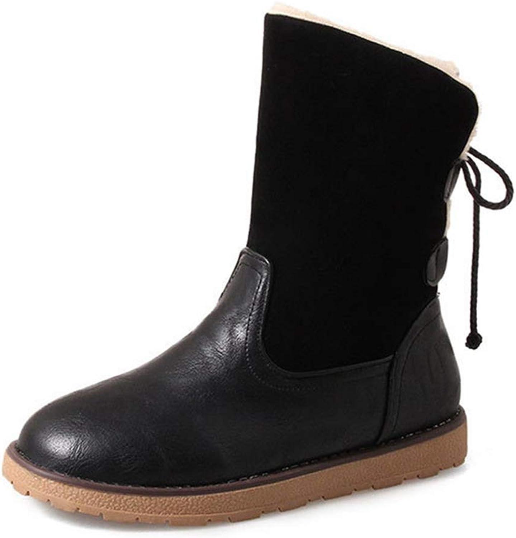 Fashion shoesbox Women's Winter Snow Ankle Booties Warm Fur Waterproof Boots Lace Up Flat Low Heel Snow Short Bootie