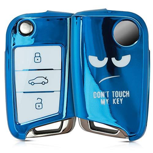 kwmobile Autoschlüssel Hülle kompatibel mit VW Golf 7 MK7 3-Tasten Autoschlüssel - TPU Schlüsselhülle Cover Don\'t Touch My Key Weiß Hochglanz Blau