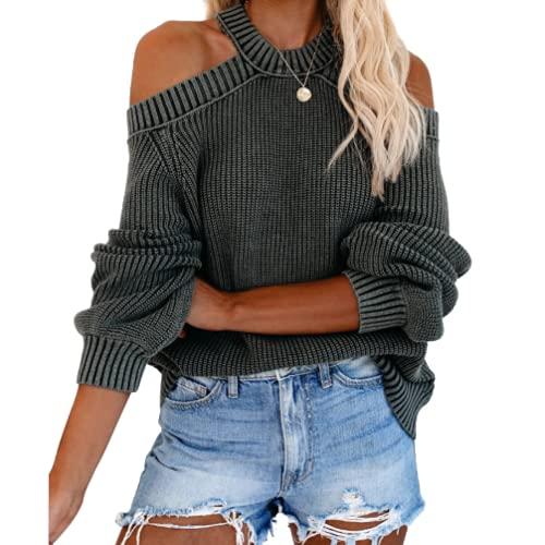 Suéter de Punto de Color sólido con Hombros Descubiertos y Hombros Descubiertos Sexis de Talla Grande para Mujer S