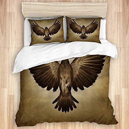 Juego de funda nórdica de 3 piezas, pájaro Wings of Freedom con plumas abiertas que vuelan hacia el éxito, juegos de fundas de edredón de microfibra para dormitorio, colcha con cremallera con 2 fundas