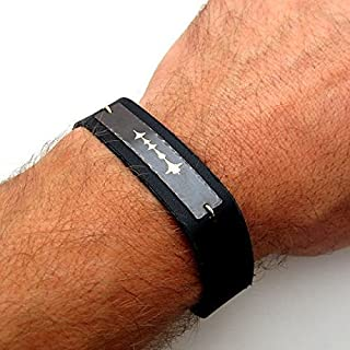 Custom Sound Wave Bracelet for Men - Personalized Leather Bracelet - Black and Gold Voice Recording Bracelet