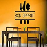 mlpnko Bon Appetite Food Wall Sticker Kitchen Cafe Restaurant Living Room Decoration Sticker Vinyl Decoración del hogar 57x66cm