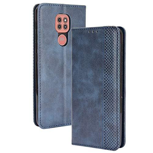FANFO® Hülle für Motorola Moto E7 Plus/Moto G9 Play HandyHülle, Premium PU Leder Tasche Magnetverschlüsse Schutzhülle Flip Wallet Klapphülle Folio Book Style Hülle Cover, Blau