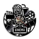 Enofvd Boleto de película de Cine Disco de Vinilo Reloj de Pared diseño de Palomitas de maíz retroiluminación decoración Fresca Reloj de Pared Cine decoración de Pared de 12 Pulgadas