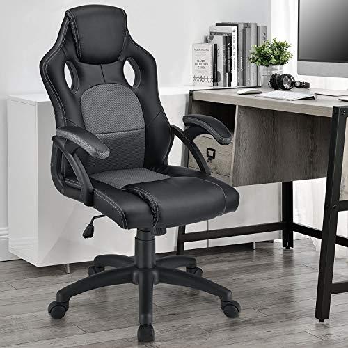 ArtLife Racing Schreibtischstuhl Montreal grau | Kunstleder | höhenverstellbar | ergonomisch | 120 kg belastbar | Bürostuhl Drehstuhl Chefsessel