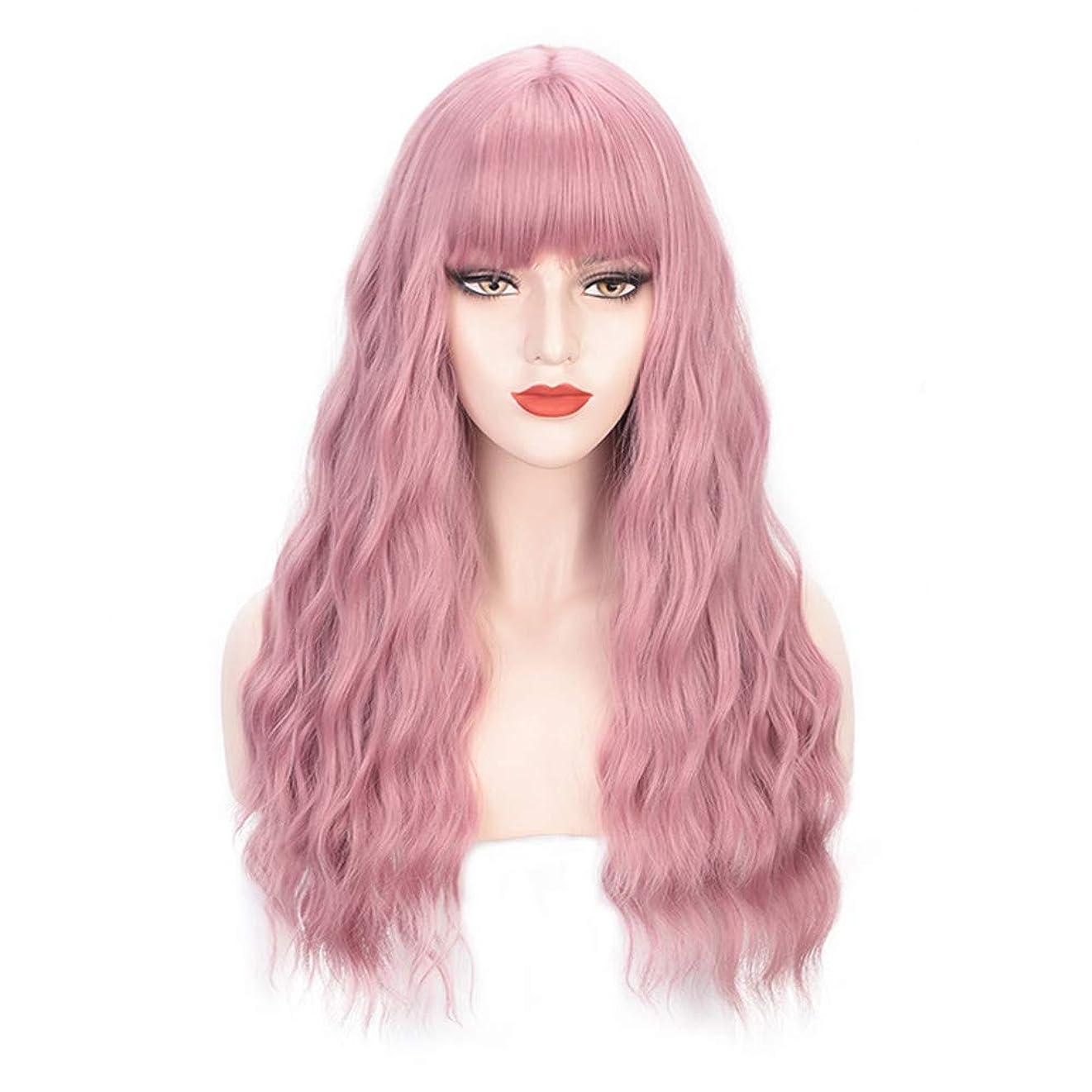 やさしくベル彼らはヘアピースロングカーリー女性女の子魅力的な合成かつら人工シルクヘアウィッグ高温風量ソフトカーリーロングカーリービッグウェーブヘアウィッグコスプレ28インチ