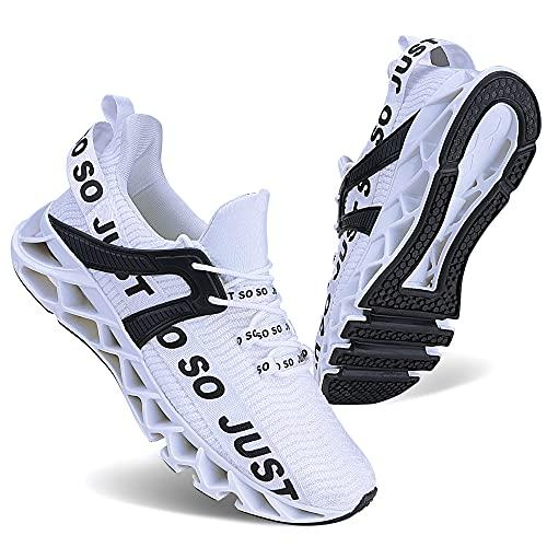 Wonesion Herren Fitness Laufschuhe Atmungsaktiv rutschfeste Mode Sneaker Sportschuhe,2 Weiß,44 EU