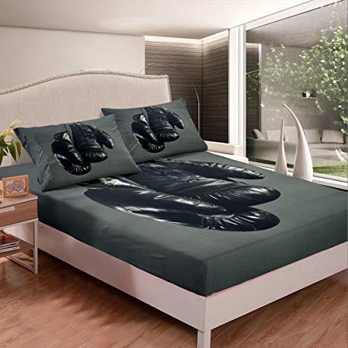 Juego de sábanas de boxeo juego de ropa de cama para niños y niñas guantes de boxeo sábana bajera ultra suave decoración cubierta de cama competitiva azul marino doble tamaño