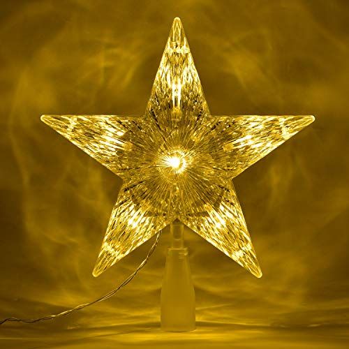 Lvydec Lighted Christmas Tree Topper, Battery Operated Lighted Star Tree Topper with Warm White Lights and 2 Lighting Modes, Stay-on and Twinkle, 10' X 8.8'