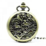Mano de obra elegante y simple, exquisita, buenos Reloj de bolsillo Pájaros Vintage Aves Mecánico Mecánico Relojes Hueco Retro FOB Cadena Colgante Mujeres Hombres Pareja Amantes Aviento de viento Relo