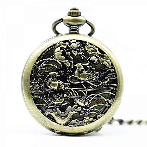 YQG Reloj de Bolsillo Vintage Birds Relojes de Bolsillo mecánicos automáticos Hollow Retro Fob Chain Colgante Mujeres Hombres Pareja Amantes Reloj de Viento Propio