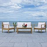 Safavieh Outdoor Collection Garnen Wicker Cushion 4-Piece Living Set PAT7714D, Natural/White