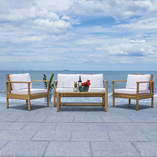 Safavieh Outdoor Collection Garnen Wicker Cushion 4-Piece Living Set...