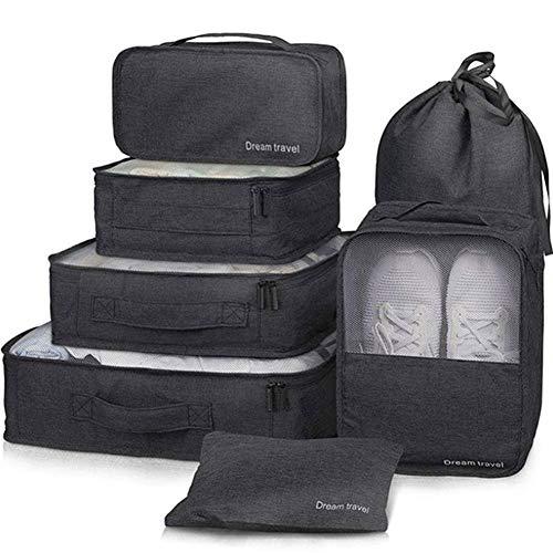 Organizer Set 7-teilig Kleidertaschen Set Reisen Organizer Kleidertaschen wasserdichte Reisen Aufbewahrungstasche Cubes Organizer Tasche für Schuhe Kleidung Kosmetik,3