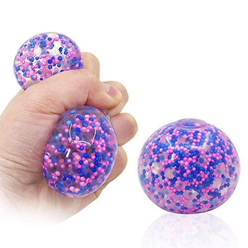 Flyglobal Balle Anti-Stress Sensory Squeeze Ball, Coloré Fidget Ball Jouet Squishy Balls avec Petites Perles pour Enfants et Adultes Soulagement de Lanxiété Autisme Calmant Le TDAH