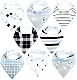 Baby Bandana Bibs for Drool Boys and Girls, 8-Pack Hypoallergenic...