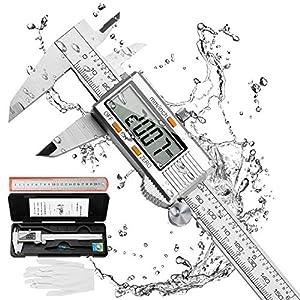 Distianert Calibre Digital 150mm, Pie de Rey Acero Inoxidable Calibrador Digital Electrónico, Gran Pantalla LCD Precisión Viene con un par de guantes y una regla de meta, 0.01mm/Inch Medición