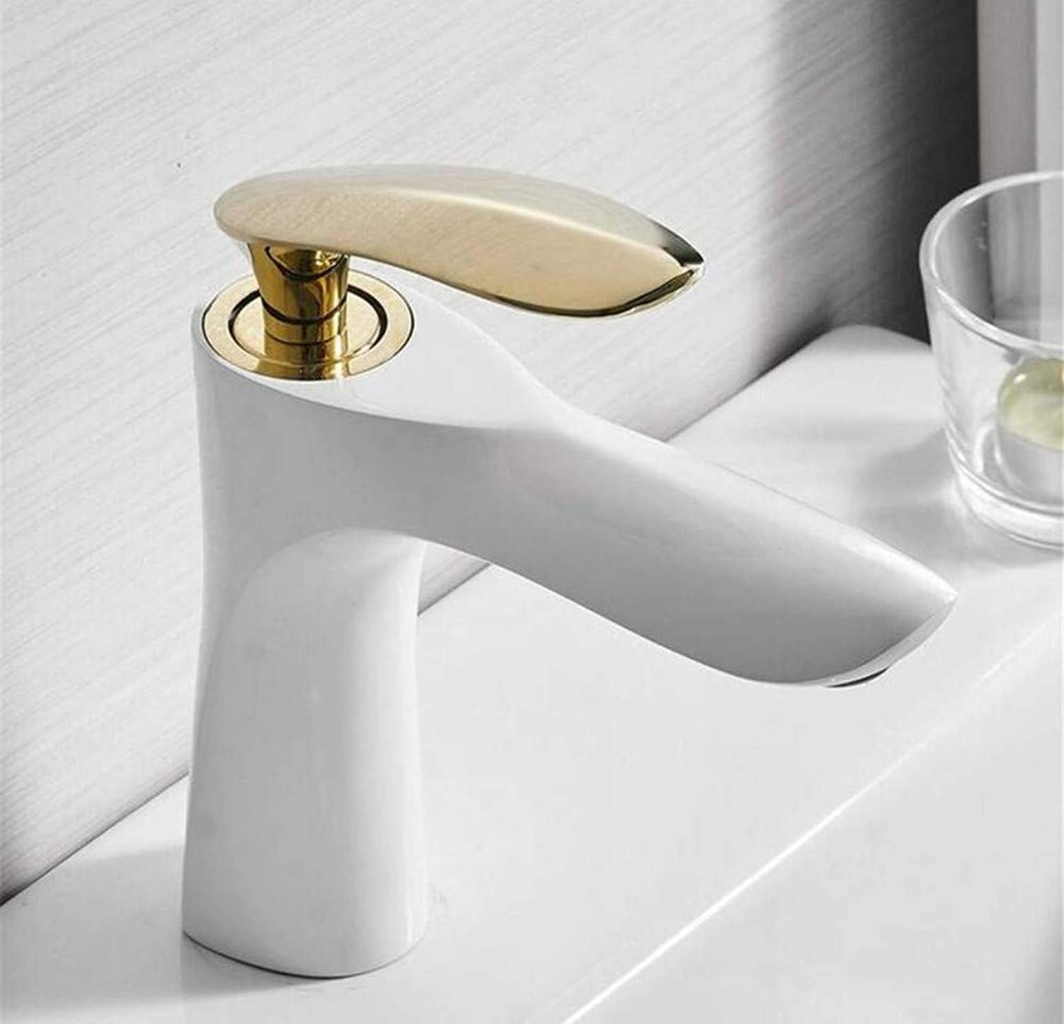 Kitchen Brass Hot and Cold Water Faucet Washbasin Mixer Art Bathroom Faucet Hot and Cold Water Basin Mixer Tap Black gold Brass