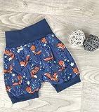 Pumpshorts Jersey haremshose Gr. 56-110,kurze hose mädchen junge, fuchs blau, Babyhose, Kinderhose