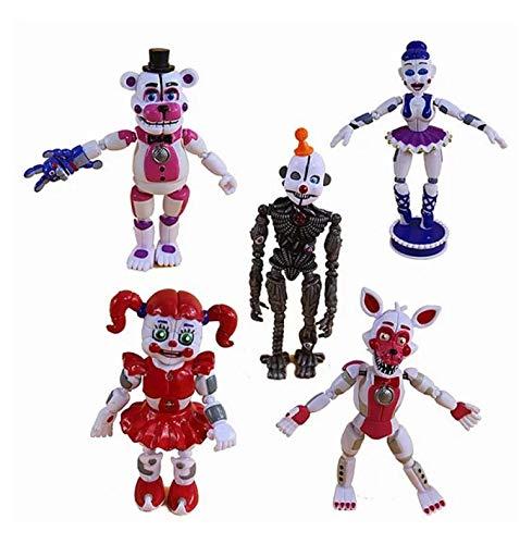 sonyy 5 Unids / Set Cinco Noches En La Ubicación De La Hermana De Freddy Funtime Foxy Ballora Puppet Nightmare Freddy PVC Figuras De Acción Juguetes 12-15Cm