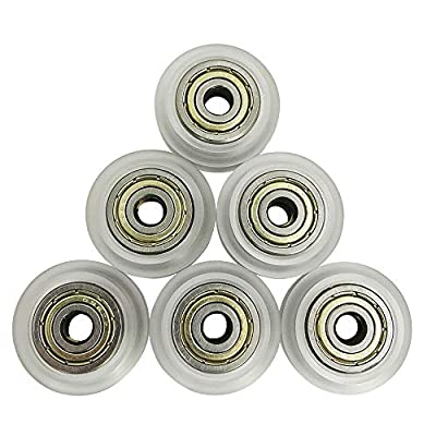 3D Printer Bearing Replacement,YuCool 6 Pack 3D Printer CNC Clear Polycarbonate Wheel Plastic Pulley Linear Bearing Compatible with CR-7,CR-8,CR-10,CR10S,3 Pro