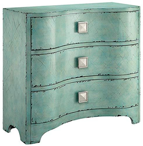 Madison Park Fulton Accent Chest-Wood Living Room 3-Drawer Storage Unit-Cracked Blue Teal, Antique Rustic Style Floor Cabinet, 36'x14'x34'