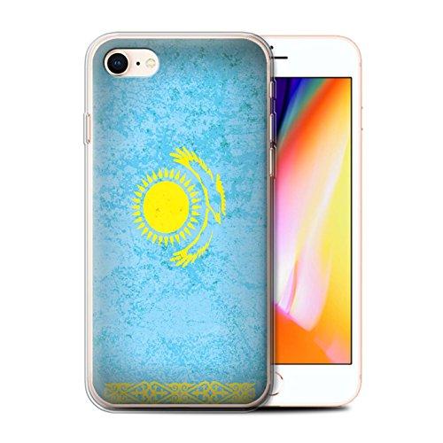 Telefoonhoesje voor Apple iPhone SE 2020 Aziatische vlag Kazachstan/Kazachstani Ontwerp Transparant Helder Ultra Zachte Flexi Siliconen Gel/TPU Bumper Cover