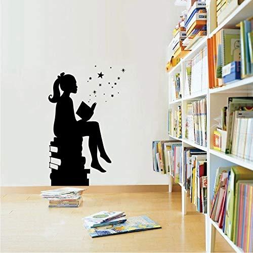 Libro de lectura mágico imagen de pared biblioteca decoración de pared educación vinilo escuela aula arte de pared decoración