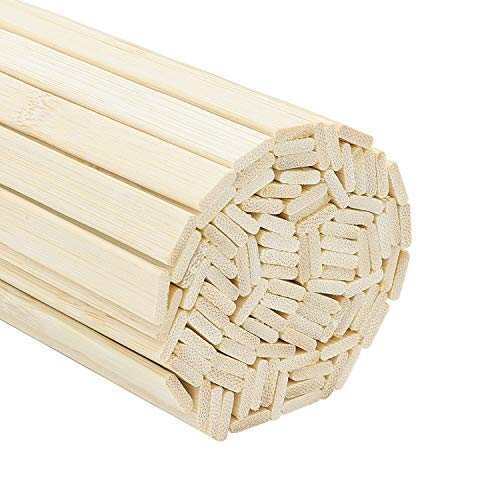 Favordrory 15.7 inches Wood Craft Sticks Natural Bamboo Sticks Extra Long Sticks Can be Curved, Strong Natural Bamboo Sticks, 60PCS
