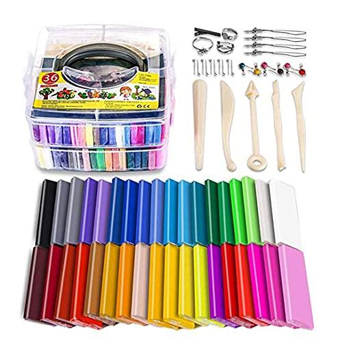 ADLOASHLOU Kit De Arcilla PoliméRica, Arcilla para Hornear para Horno De 36 Colores, Arcilla Modelo para Hornear, Arcilla para Manualidades,Los Mejores Regalos para NiñOs Y NiñAs 36colors