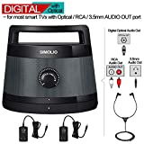 SIMOLIO Digital Assisted Hearing Amplifier Wireless TV Speaker with Optical In, Voice Highlighting Portable TV Listening Speaker for Seniors, No Delay,100ft Work Range, Extra Headset & Adapter SM-621D