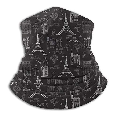Sng9o Pasamontañas de forro polar con diseño de calles de París multifuncional, color negro y blanco