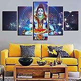 リビングルームの壁アート絵画HDプリント装飾ヒンドゥー教のシヴァ神と星座の風景モジュラーキャンバスの写真5枚,10x15 10x20 10x25cm
