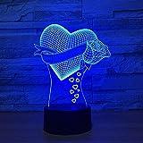 WxzXyubo Lámpara de ilusión visual 3D / Nueva luz de noche de corazón/Luces de noche LED / 7 colores / 16 luces de noche que cambian de color/Regalo de Halloween para niños/Toque