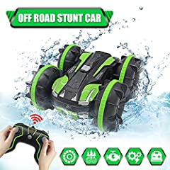 🎁【Quality Material】: Made of premium Environmental ABS plastic materials.This material is not only non-toxic, odorless, and never fades, but also shockproof car body, effectively prevent wear. This durable stunt remote control car is a good choice fo...