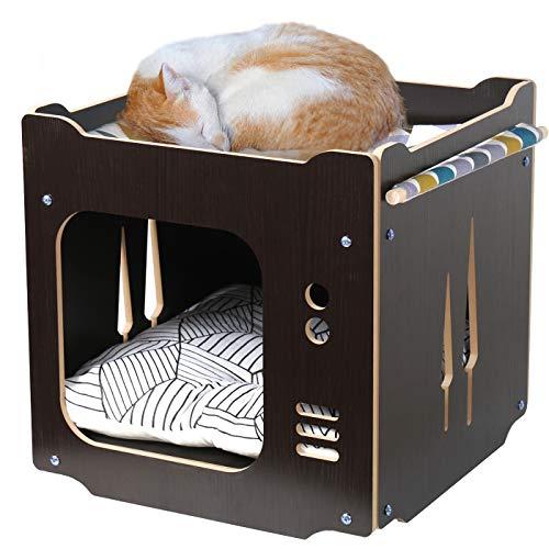 ペットベッド キャットハウス 多頭用 ボックスハウス クッションマット付き ハンモック 2階 寝床 猫用 ケージ ドーム型 箱型 組み立て 木製 通気 防潮 丈夫 猫ソファ 四季使える 家具調 ぐっすり眠れる 組み立て説明書付き (ダークブラウン)