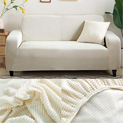 Fundas Sofas 3 y 2 Plazas Ajustables Blanco Fundas Sofá,Universal Funda Cubre Sofas Ajustables, Antideslizante Protector Cubierta de Muebles(195-230cm)