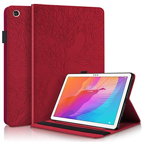 AsWant Étui pour Huawei Matepad T10/T10s, Arbre en Relief Housse en Cuir PU Portefeuille Fentes Cartes Coque Tablette pour Huawei Matepad T 10 9.7 Pouces/Huawei Matepad T 10s 10.1 Pouces - Rouge