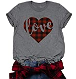 Valentine's Day Buffalo Plaid Love Heart Letter Print T-Shirt Women Cute Graphic Tee O-Neck Short Sleeve Tops Size L (Gray)
