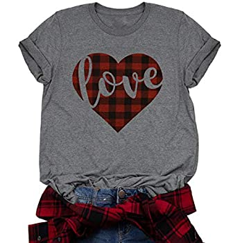 Valentine s Day Buffalo Plaid Love Heart Letter Print T-Shirt Women Cute Graphic Tee O-Neck Short Sleeve Tops Size L  Gray